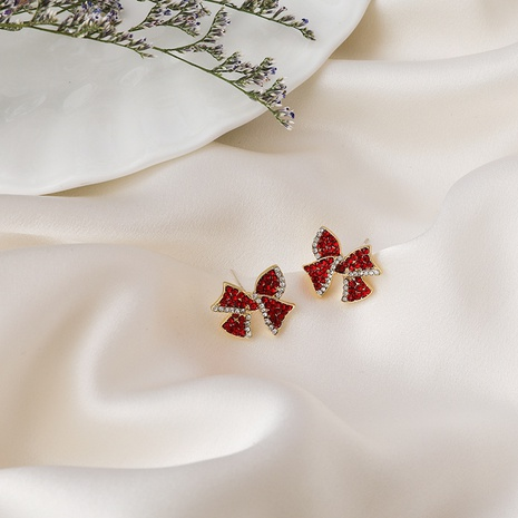Red diamond bow stud earrings NHMS310275's discount tags