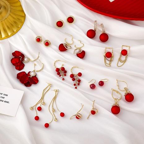 New Red Bead Petal Tassel Earrings  NHMS310279's discount tags