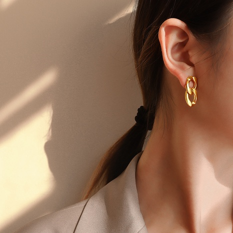 simple exaggerated retro metal chain earrings NHOK310293's discount tags