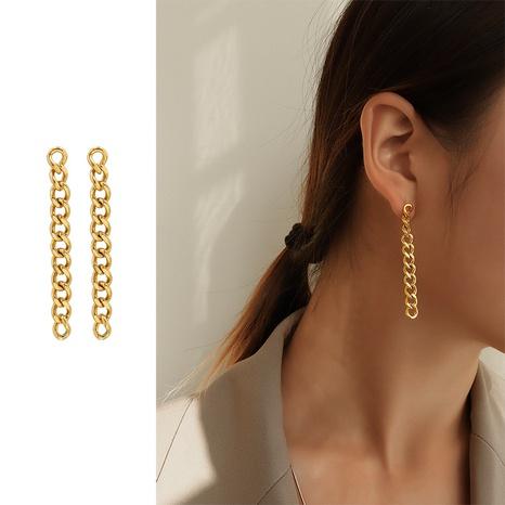 goldene Ohrringe aus Titanstahl NHOK310301's discount tags