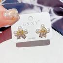flower imitation pearl zircon earrings  NHCG310342