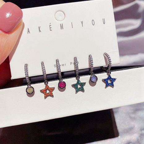 colored diamonds five-pointed star earrings set  NHCG310347's discount tags