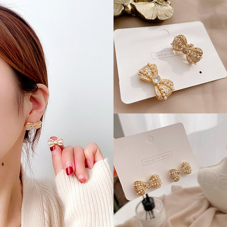 diamond-studded alloy bow earrings NHHI310357's discount tags