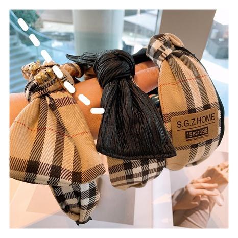 Retro elegantes Bowknot Plaid Haarband NHHD310371's discount tags