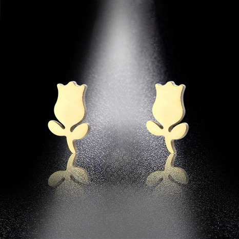 stainless steel tulip flower earrings  NHAC310388's discount tags