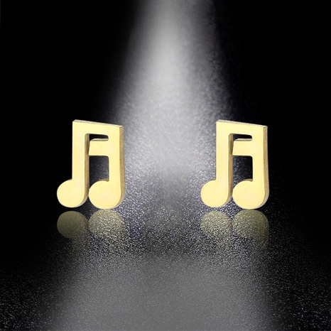 music note gold-plated stainless steel earrings NHAC310390's discount tags