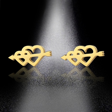 arrow through the heart stainless steel earrings  NHAC310393's discount tags