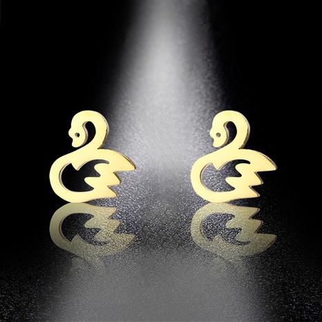 mini titanium steel cute swan earrings NHAC310394's discount tags
