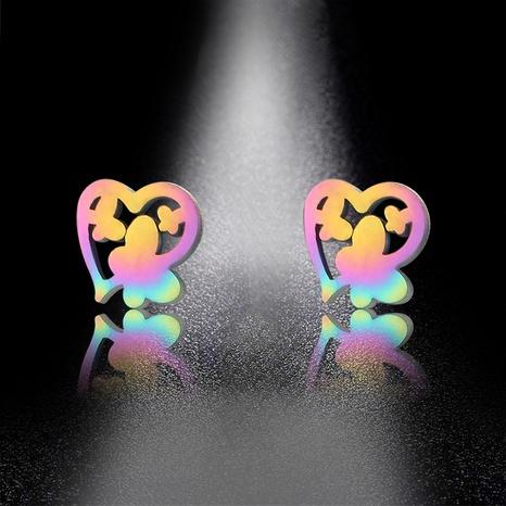 Korean cute butterfly heart earrings  NHAC310397's discount tags
