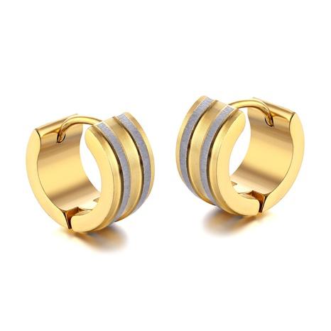einfache goldene Nut Edelstahl Ohrringe NHAC310400's discount tags