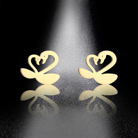stainless steel swan earrings  NHAC310410's discount tags