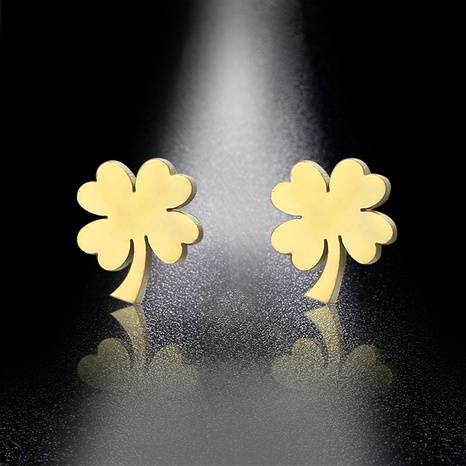 Stainless steel glossy four-leaf clover earrings  NHAC310415's discount tags