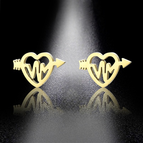 Valentine's Day Titanium Steel Heart Earrings NHAC310421's discount tags