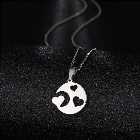 new heart-shaped simple moon love necklace NHAC310425's discount tags