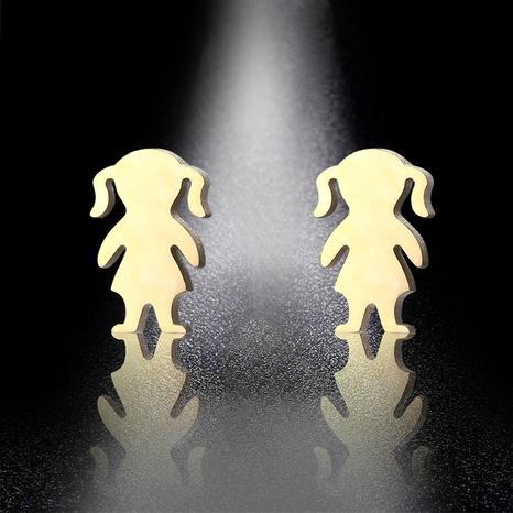 titanium steel cute doll earrings  NHAC310447's discount tags