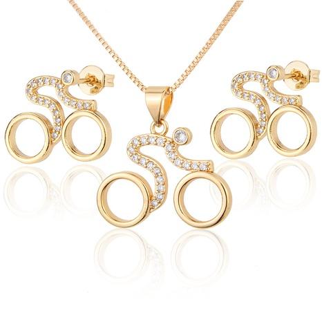 einfache eingelegte Zirkonium Radsport Halskette Ohrringe Set NHBP310448's discount tags