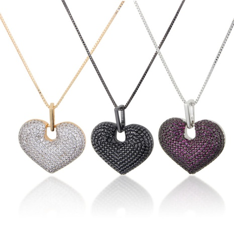 fashion new copper plating peach heart pendant necklace NHBP310455's discount tags