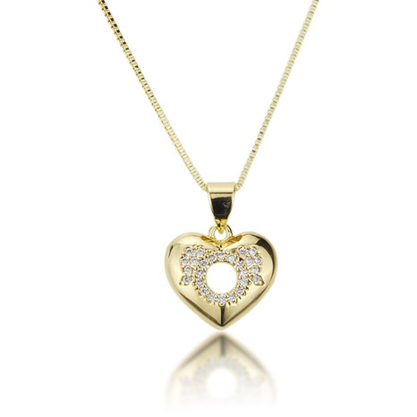 fashion new copper-plated peach heart hollow necklace NHBP310456's discount tags