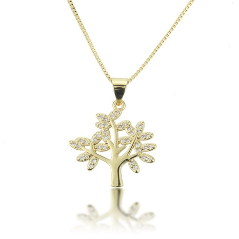 fashion zircon tree pendant copper necklace NHBP310457's discount tags