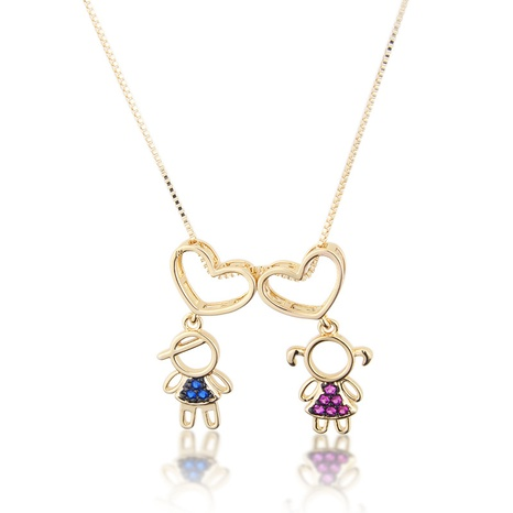 simple inlaid zirconium heart-shaped boy and girl necklace NHBP310458's discount tags