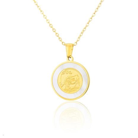 titanium steel zodiac ox year pendant necklace NHBP310465's discount tags