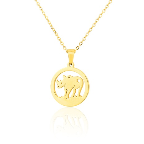 titanium steel bull-shaped necklace NHBP310466's discount tags