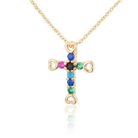 colored zircon gold-plated cross necklace  NHBP310473's discount tags
