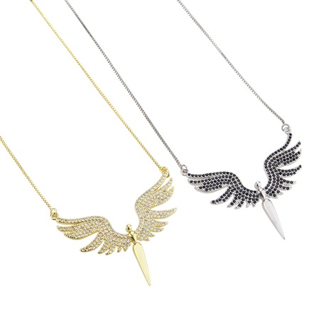 simple gold-plated angel zircon necklace  NHBP310479's discount tags