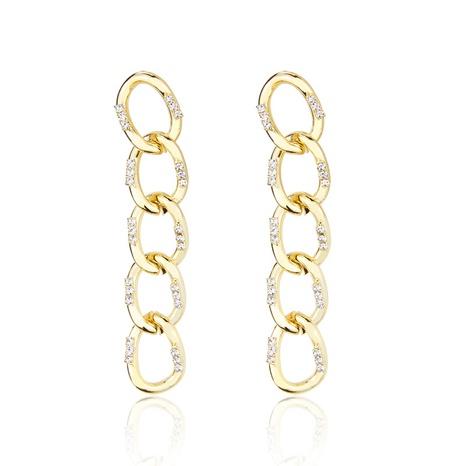fashion copper inlaid zirconium chain earrings NHBP310484's discount tags