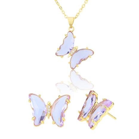 einfache transparente Schmetterlingsohrringe Halskette gesetzt NHBP310490's discount tags