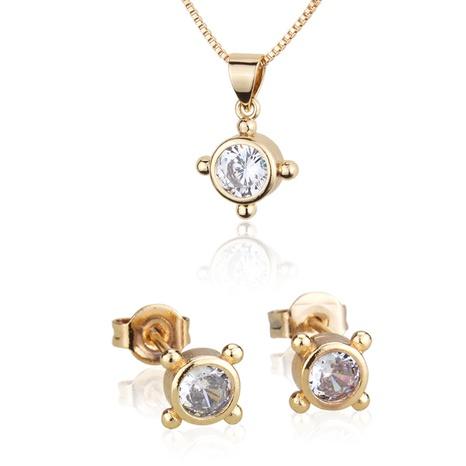 vergoldete Zirkon runde Anhänger Halskette Ohrringe Set NHBP310495's discount tags