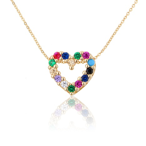 gold-plated heart-shaped colorful zircon necklace NHBP310497's discount tags