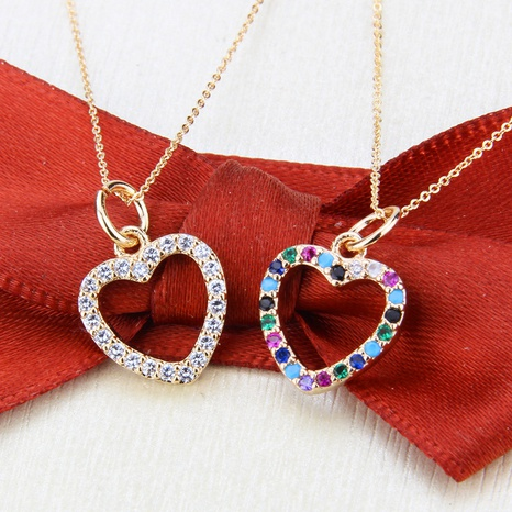 gold-plated heart-shaped zircon necklace NHBP310501's discount tags