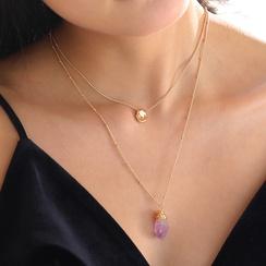 Mode hellviolette Naturstein Anhänger mehrschichtige Halskette NHAN309931