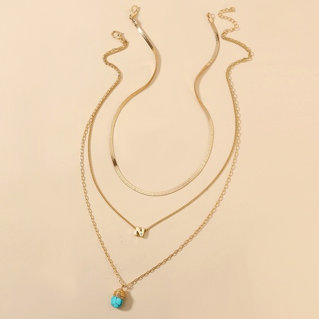 collar retro multicapa con letras turquesas NHAN309933's discount tags