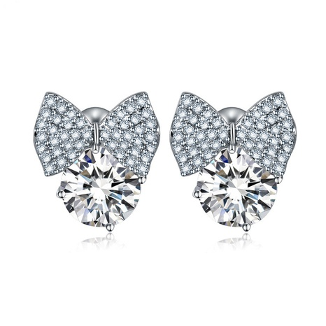 zircon fashion bow earrings  NHTM309970's discount tags