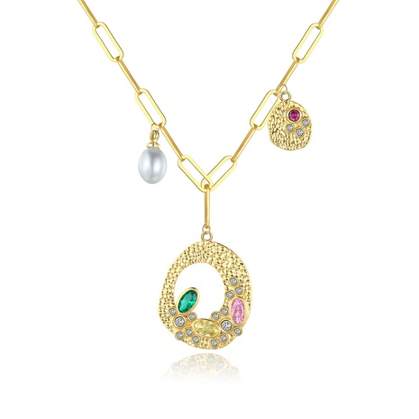 Korean fashion copper inlaid colorful zircon necklace  NHTM310021's discount tags