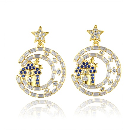 copper inlaid blue zircon star fashion earrings NHTM310024's discount tags