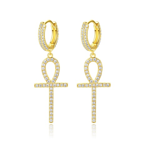 fashion copper inlaid zircon cross earrings NHTM310028's discount tags