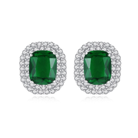 simple fashion round green gem earrings  NHTM310076's discount tags