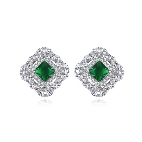 fashion copper inlaid zircon green gem earrings NHTM310078's discount tags