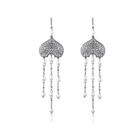 long heart-shaped zircon earrings  NHTM310083's discount tags