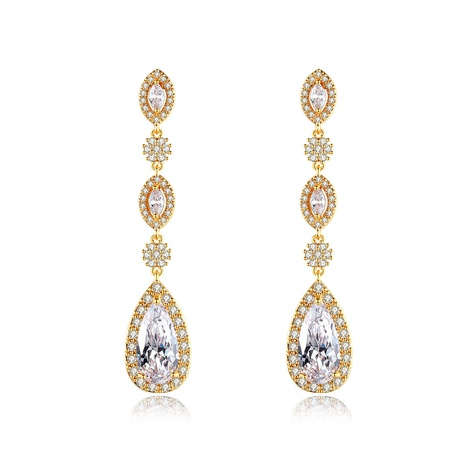 copper inlaid zircon fashion long drop earrings NHTM310084's discount tags