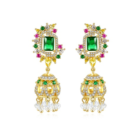 new copper inlaid zircon colorful earrings  NHTM310085's discount tags