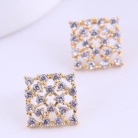 Korean Fashion Sweet Flash Diamond Square Earrings NHSC311002's discount tags