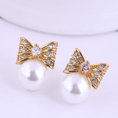 Korean Fashion Sweet Bow Pearl Earrings NHSC311001's discount tags