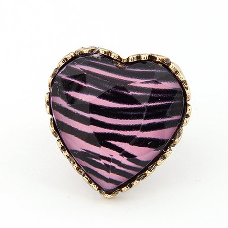 Korean fashion retro leopard peach heart open ring NHSC310953's discount tags