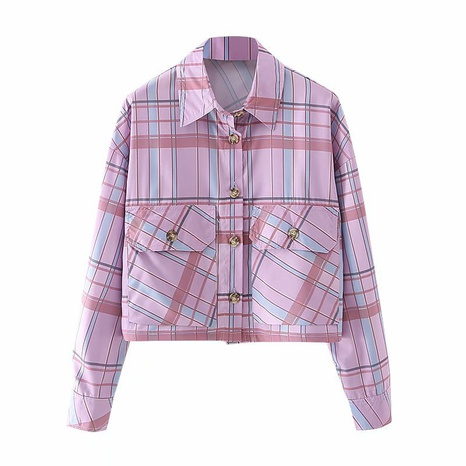 camisa casual con bolsillos a cuadros con solapa holgada retro NHAM310639's discount tags