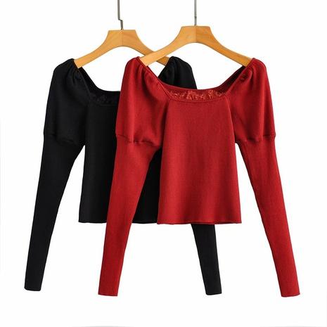 nuevo suéter retro de manga larga con cuello cuadrado y manga abullonada NHAM310641's discount tags