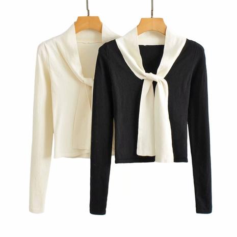camisa de punto con nudo de corbata con costuras simples NHAM310642's discount tags